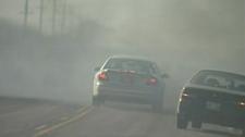 Smoke near burned out bridge in southeastern Man, close to Vita