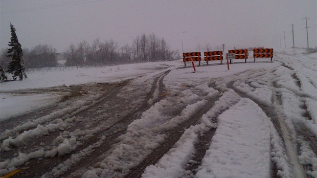 The storm brought heavy snowfall to parts of southeastern Manitoba on Oct. 4, 2012, with some areas in the RM of Stuartburn receiving about 25 centimetres by Thursday afternoon.